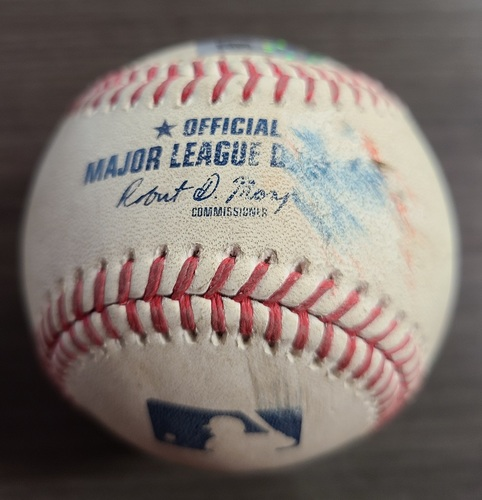 Photo of Authenticated Game Used Baseball: Home Run (11) by Randal Grichuk against Jorge Lopez (Sep 25, 2020 vs BAL). Bottom 2. Game played in Buffalo. 1st Career Win Game for Nate Pearson.