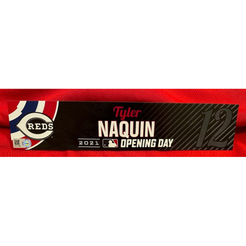 Photo of Tyler Naquin -- 2021 Opening Day Locker Tag -- Game-Used -- Cardinals vs. Reds on 4/1/21
