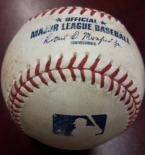 Photo of Authenticated Game Used Baseball - April 4, 2018 vs Chicago White Sox: RBI Single by Steve Pearce against Aaron Bummer (Bottom 6)