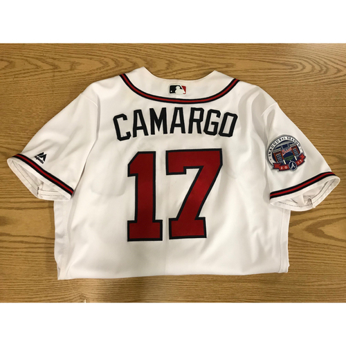 Photo of Johan Camargo 2017 Game-Used Home White Jersey - Rookie Season
