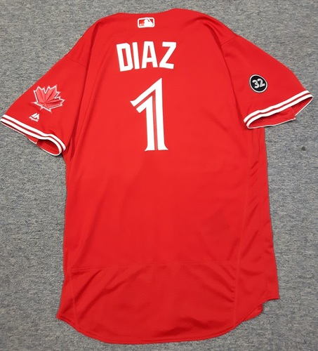 Photo of Authenticated Game Used 2018 Canada Day Jersey - #1 Aledmys Diaz (July 1, 2018: 1-for-3). Size 46.