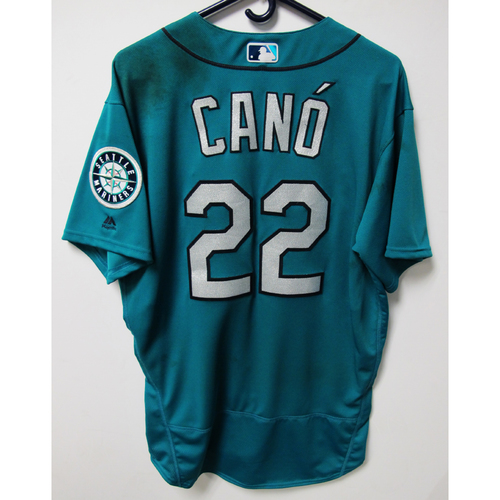Photo of Seattle Mariners Robinson Cano Alternate Teal Game Used Jersey - 8/17/2018 vs. LAD