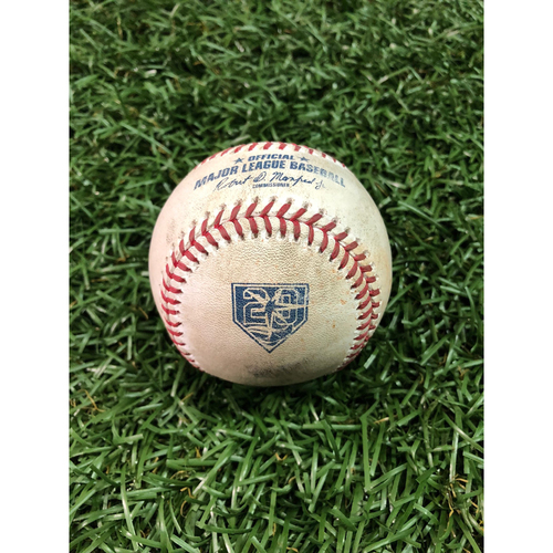 Photo of 20th Anniversary Game Used Baseball: Jackie Bradley Jr. double off Blake Snell - August 26, 2018 v BOS - Players Weekend