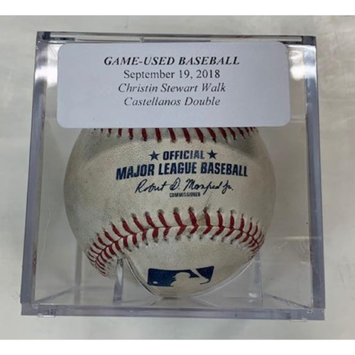 Photo of Game-Used Baseball: Christin Stewart Walk and Nicholas Castellanos RBI Double
