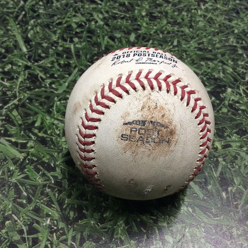 Photo of Game-Used Baseball NLCS Game 1 LAD@MIL 10/12/18 - Brandon Woodruff - Manny Machado: Strikeout