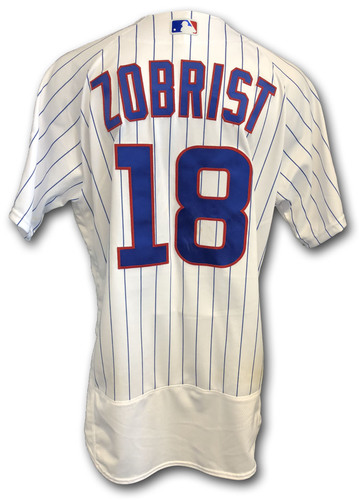 Photo of Ben Zobrist Game-Used Jersey -- Rockies vs. Cubs -- 10/2/18 -- 2018 Postseason Wild Card