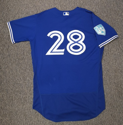 Photo of Authenticated Game Used Spring Training 2019 Jersey - #28 Billy McKinney (Mar 17, 19: 1-for-1 with 1 Run, 1 RBI and 2 Walks. Mar 26, 19: 0-for-2). Size 44