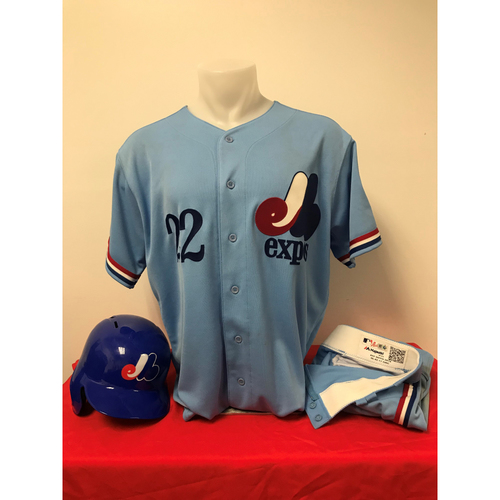 Photo of Juan Soto Expos Gear: Game-Used Jersey, Game-Used Pants, and Game-Used Batting Helmet