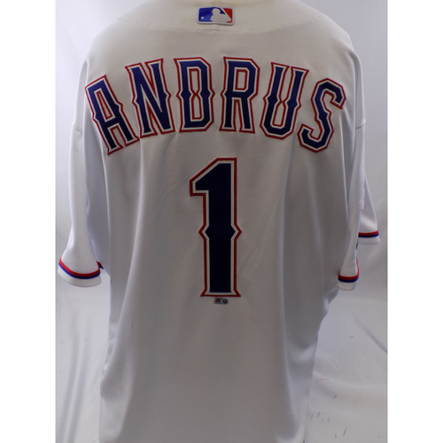 Photo of Game-Used White Elvis Andrus Jersey - 9/12/19
