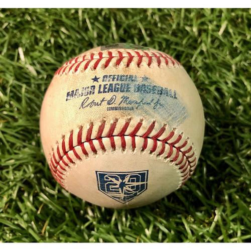 Game Used Baseball: J.D. Martinez single and Xander Bogaerts foul ball off Hunter Wood - August 24, 2018 v BOS