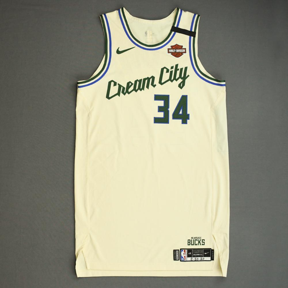 Giannis Antetokounmpo - Milwaukee Bucks - Game-Worn 1st Half City Edition Jersey - Recorded a 33 Point Double-Double - 2019-20 NBA Season