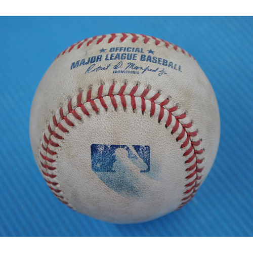 Photo of Game-Used Baseball - 2020 NLDS - Los Angeles Dodgers vs. San Diego Padres - Game 3 - Pitcher: Julio Urias, Batters: Manny Machado (Single to CF), Eric Hosmer (Reaches on Error), Tommy Pham (Foul) - Bot 6