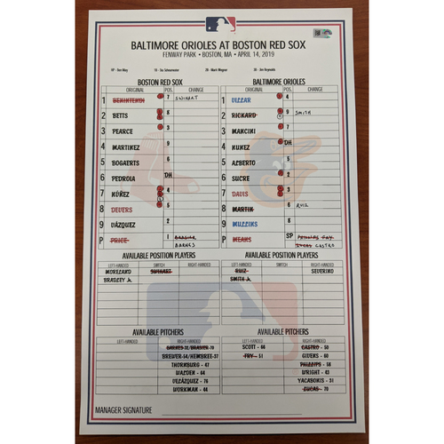 Photo of Red Sox vs. Orioles April 14, 2019 Game Used Lineup Card - Red Sox Win 4 to 0