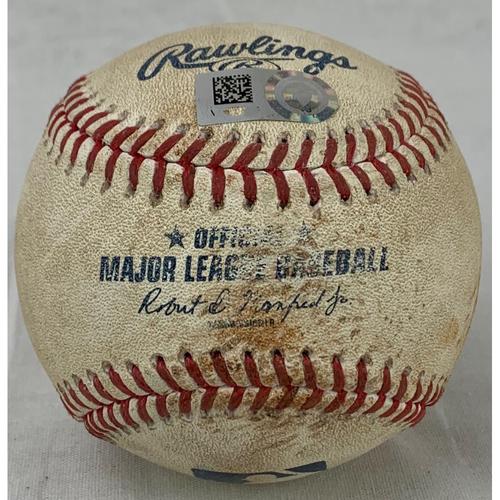 Photo of 2021 Game-Used Baseball - Pitcher: Kenta Maeda, Batter: Yordan Alvarez - RBI Single - Bottom 5- 8/8/21