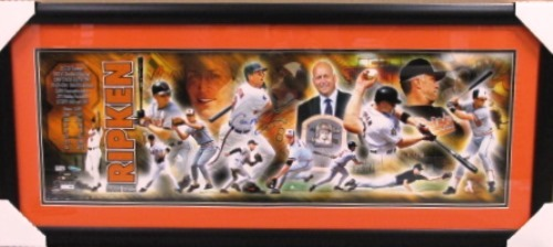 Photo of Cal Ripken Jr. Autographed Career Highlight Collage - Framed 36x12