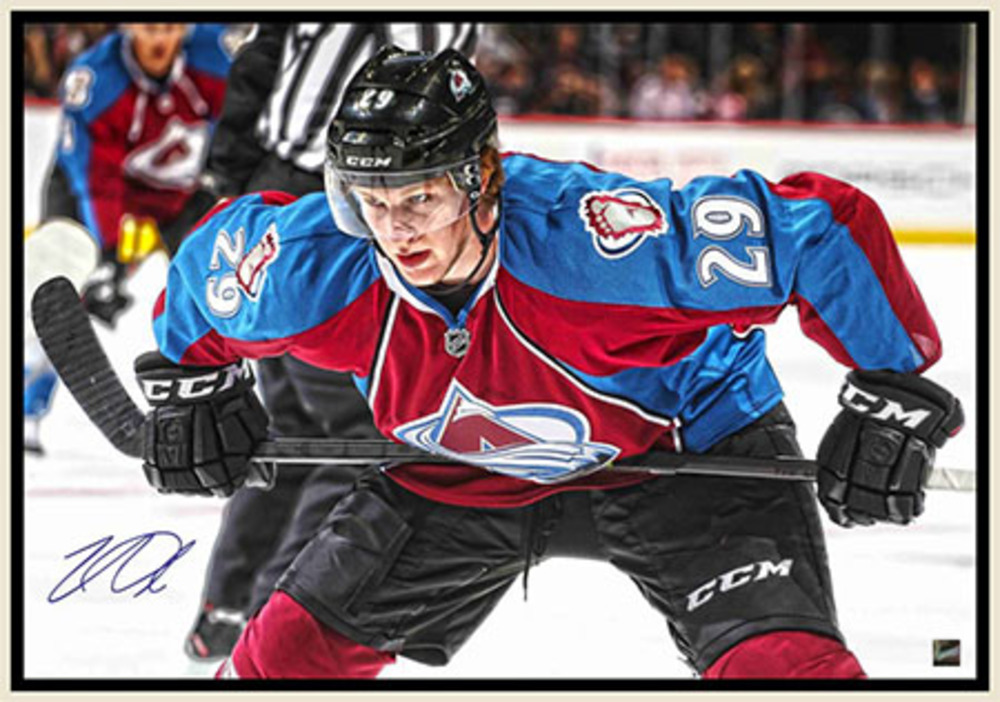 Nathan MacKinnon - Signed & Framed 20x29 Canvas - Coloardo Avalanche Faceoff