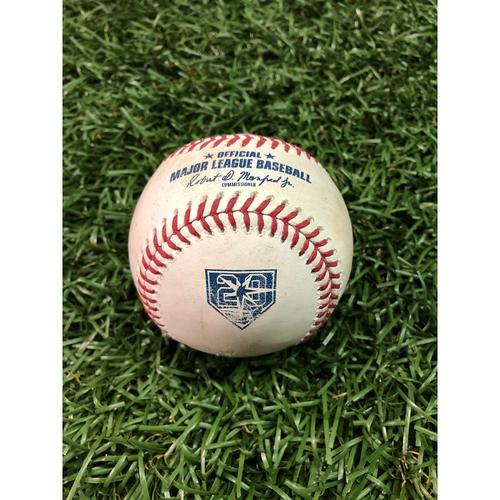 Photo of 20th Anniversary Game Used Baseball: Tommy Pham triple off David Hess - September 8, 2018 v BAL