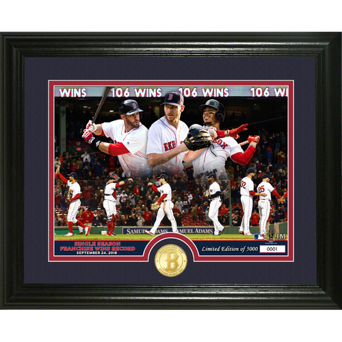 "Photo of Boston Red Sox ""Single Season Franchise Wins Record Breaker"" Bronze Coin Photo Mint"