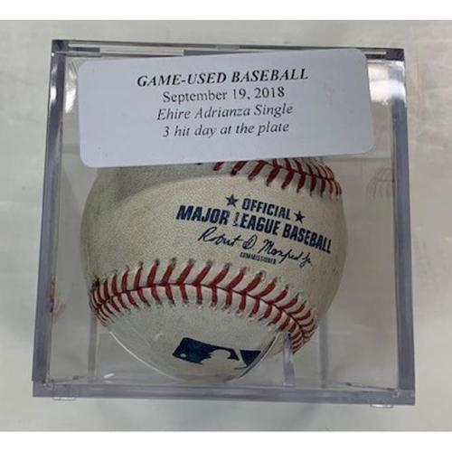 Photo of Game-Used Baseball: Ehire Adrianza Double