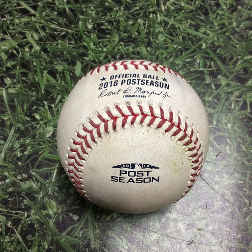 Photo of Game-Used Baseball NLCS Game 1 LAD@MIL 10/12/18 - Josh Hader - Enrique Hernandez: Strikeout