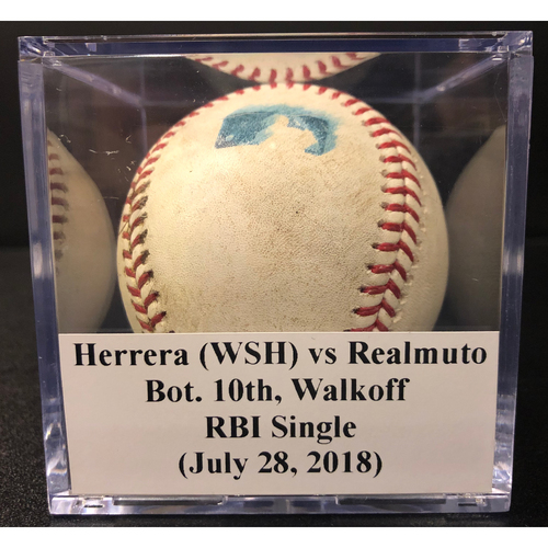 Photo of Game-Used Baseball: J.T. Realmuto Walkoff RBI Single vs Nationals (July 28, 2018)