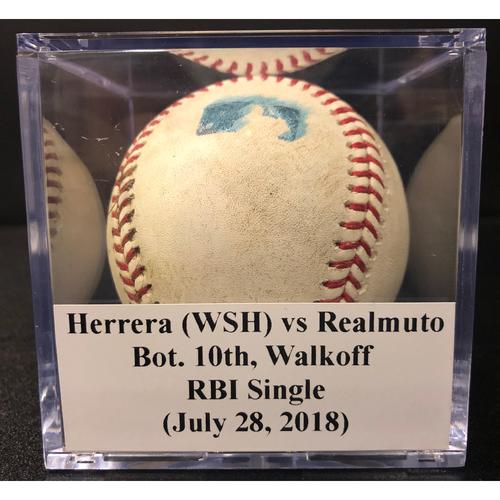 Photo of Game-Used Baseball: J.T. Realmuto Walkoff RBI Single vs Nationals (July 28, 2018)