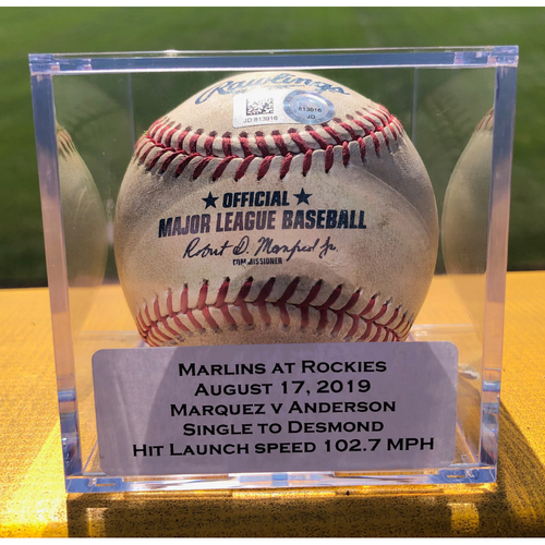 Photo of Colorado Rockies Game-Used Baseball - Pitcher: German Marquez, Batter: Brian Anderson (Single to Ian Desmond) - August 17, 2019 vs Miami Marlins