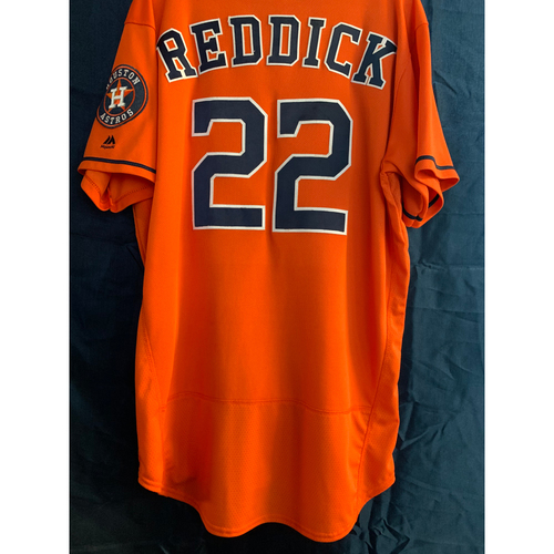 Photo of 2019 Game-Used Josh Reddick Los Astros Orange Jersey (Size 46)