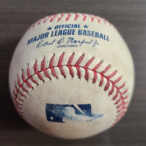 Photo of Authenticated Game Used Baseball: Foul by Chance Sisco against Taijuan Walker (Sep 25, 2020 vs BAL). Top 3. Game played in Buffalo. 1st Career Win Game for Nate Pearson.