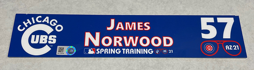Photo of James Norwood 2021 Spring Training Locker Nameplate