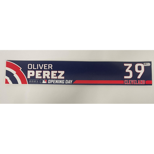 Photo of Game-Used Locker Name Plate - Opening Day 4/5/2021 - Oliver Perez #39