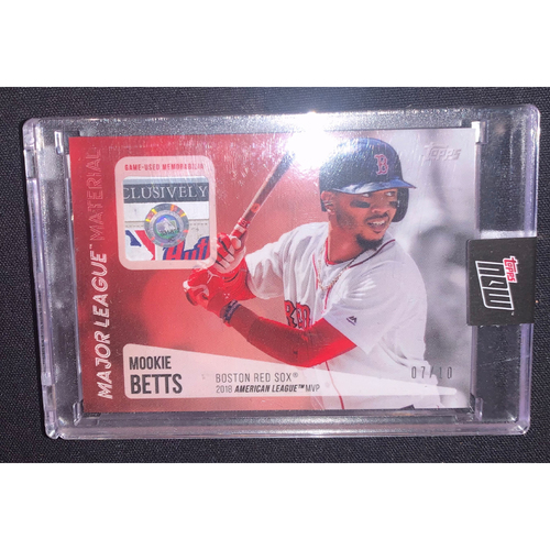 Photo of Mookie Betts Topps Now Major League Material Game Used Jersey Card #7/10
