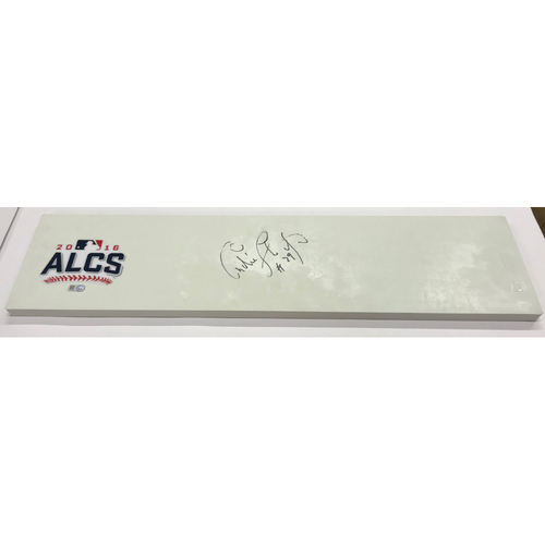Photo of 2016 ALCS Commemorative Pitching Rubber Autographed by Andre Thornton