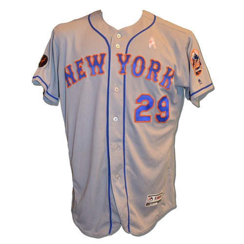 Photo of Devin Mesoraco #29 - Game Used Road Grey Jersey - Worn on 5/13/18 - Also Worn on 5/11/18; 1-4, HR, 1 Run Scored, 1 RBI - Mets vs. Phillies - 5/13/18