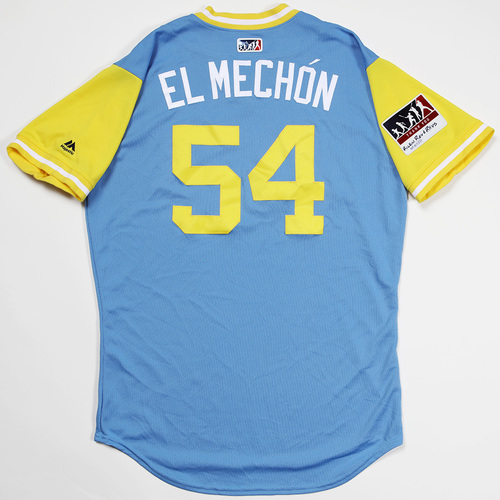 "Photo of Sergio ""El Mechón"" Romo Tampa Bay Rays Game-Used 2018 Players' Weekend Jersey"