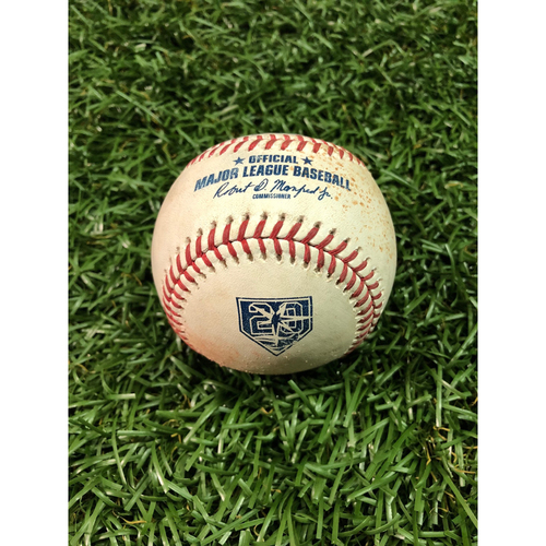 Photo of 20th Anniversary Game Used Baseball: Francisco Lindor double off Andrew Kittredge - September 10, 2018 v CLE