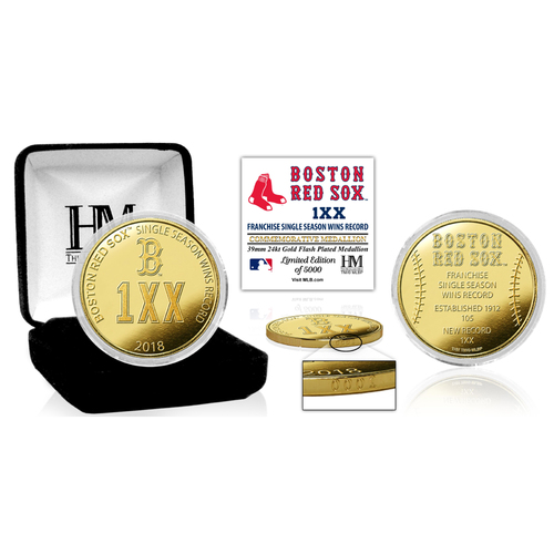 "Photo of Boston Red Sox ""Single Season Franchise Wins Record Breaker"" Gold Mint Coin"