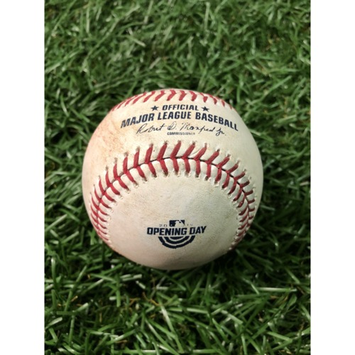 Photo of Opening Day Game-Used Baseball: Yandy Diaz double off Justin Verlander - March 28, 2019 v HOU