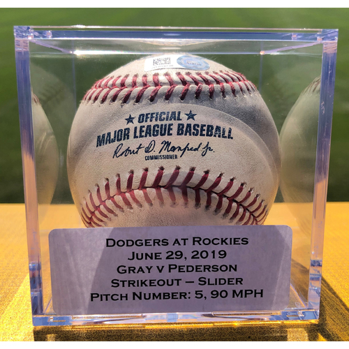 Photo of Colorado Rockies Game-Used Baseball - Pitcher: Jon Gray, Batter: Joc Pederson (Strikeout) - June 29, 2019 vs Los Angeles Dodgers