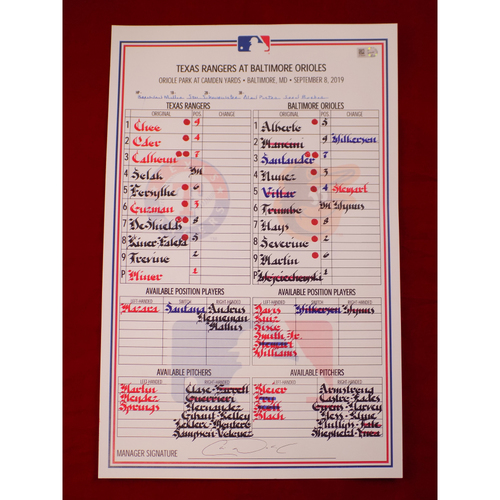 Photo of Game-Used Lineup Card - 9/8/19 @ BAL