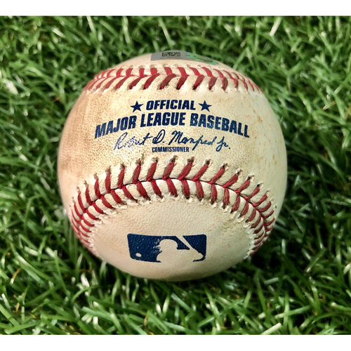 Photo of Game Used Baseball: Austin Meadows double and Tommy Pham walk against Matt Wisler - August 20, 2019 v SEA