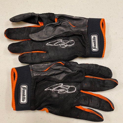 Photo of 2020 Cyber Monday Sale - #13 Austin Slater Team Issued Autographed Black & Orange Franklin Batting Gloves