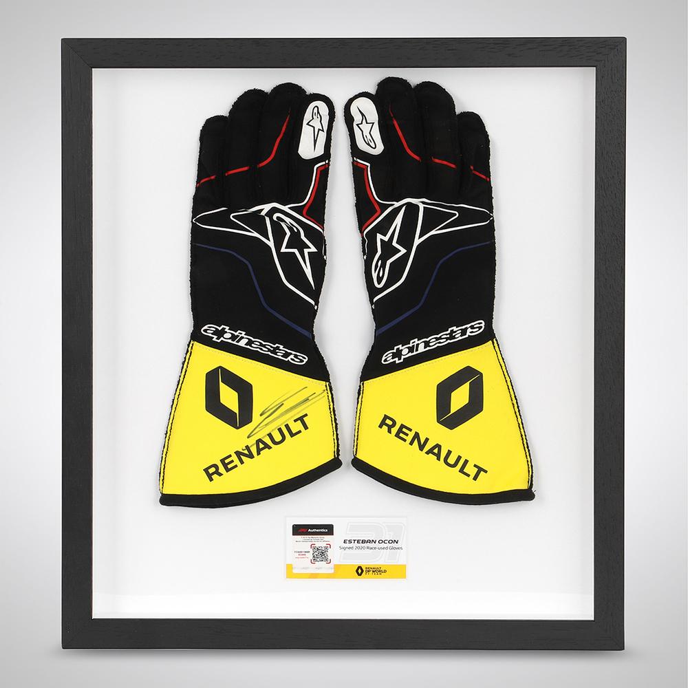 Esteban Ocon 2020 Framed Signed Race-worn Race Gloves - Turkish GP