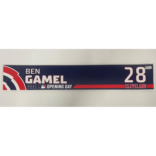 Photo of Game-Used Locker Name Plate - Opening Day 4/5/2021 - Ben Gamel #28