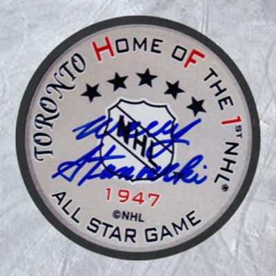 WALLY STANOWSKI 1947 All Star Game Autographed Hockey Puck *AJ Sports World*