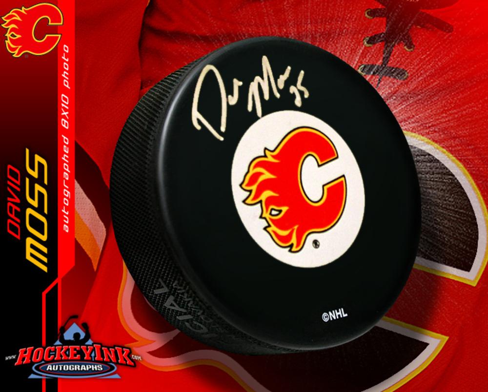 DAVID MOSS Signed Calgary Flames Puck