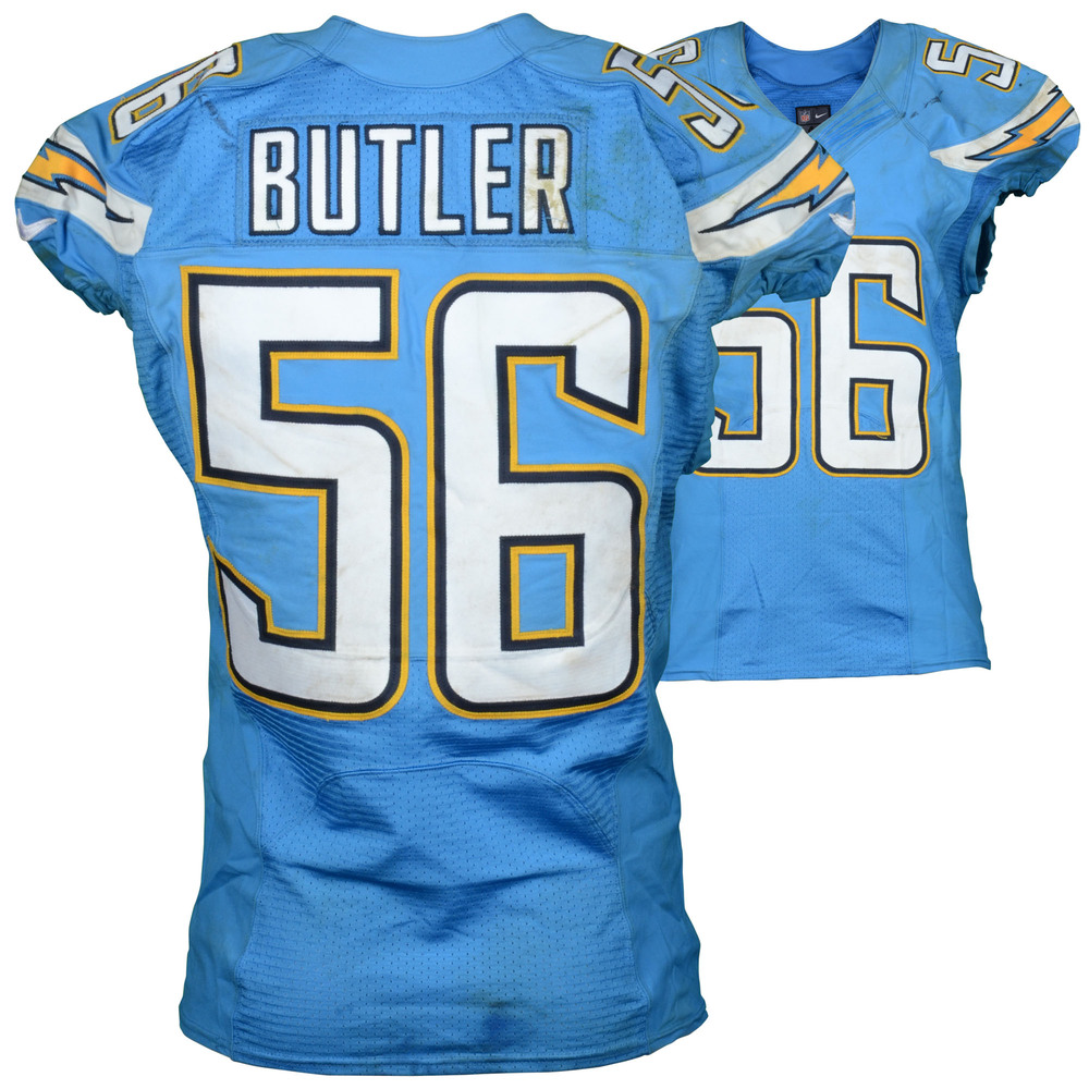 Donald Butler San Diego Chargers Game Used Powder Blue #56 Jersey from Week 7 vs Oakland Raiders on October 25, 2015