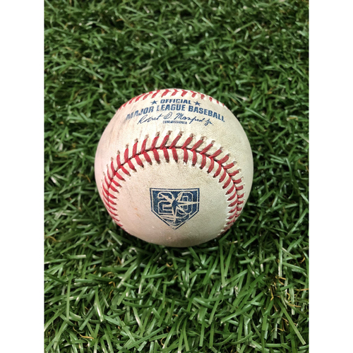 Photo of 20th Anniversary Game Used Baseball: Francisco Lindor single and Michael Brantley double off Jaleen Beeks - September 10, 2018 v CLE