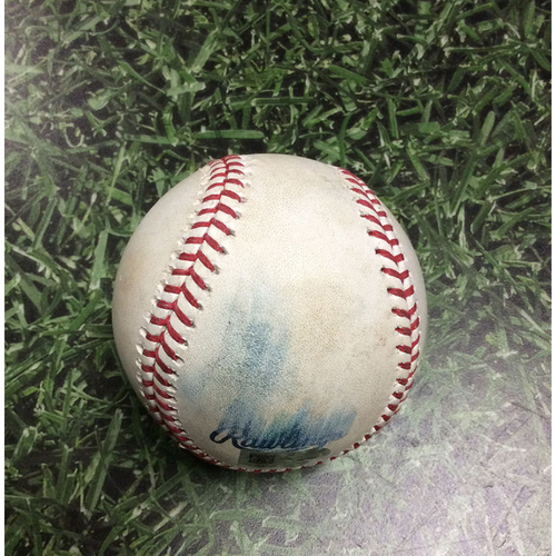 Photo of Game-Used Baseball NLCS Game 1 LAD@MIL 10/12/18 - Josh Hader - Brian Dozier: Popout