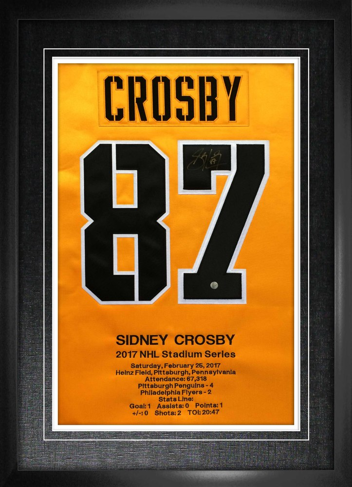 Sidney Crosby Signed Numbers Framed w Embroidery Penguins 2017 Stadium Series